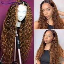 Ombre sarışın kıvırcık peruk 13x6 dantel ön İnsan saç peruk ön koparıp 1b/27 Ombre renk brezilyalı kıvırcık Remy saç rüya güzellik