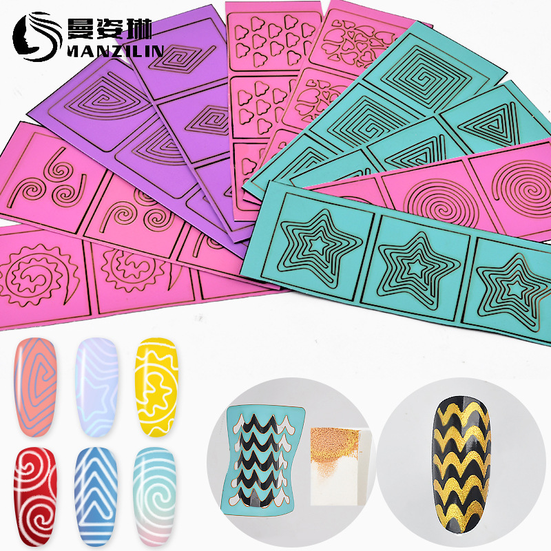 New Style Hollow Out Adhesive Paper Manicure Spray-print Template Hollow Out Diy10 Zhang Mixed-Color Hollow Out Stickers