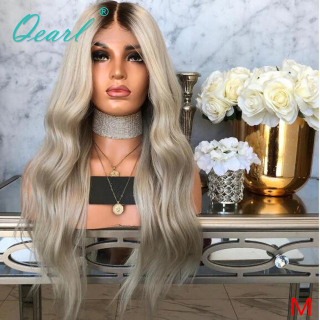 Human Hair Full Lace Wigs Ombre Ash Blonde Grey with Dark Roots Remy Hair Body Wave Full Wig Pre Plucked Baby Hairs 150% Qearl