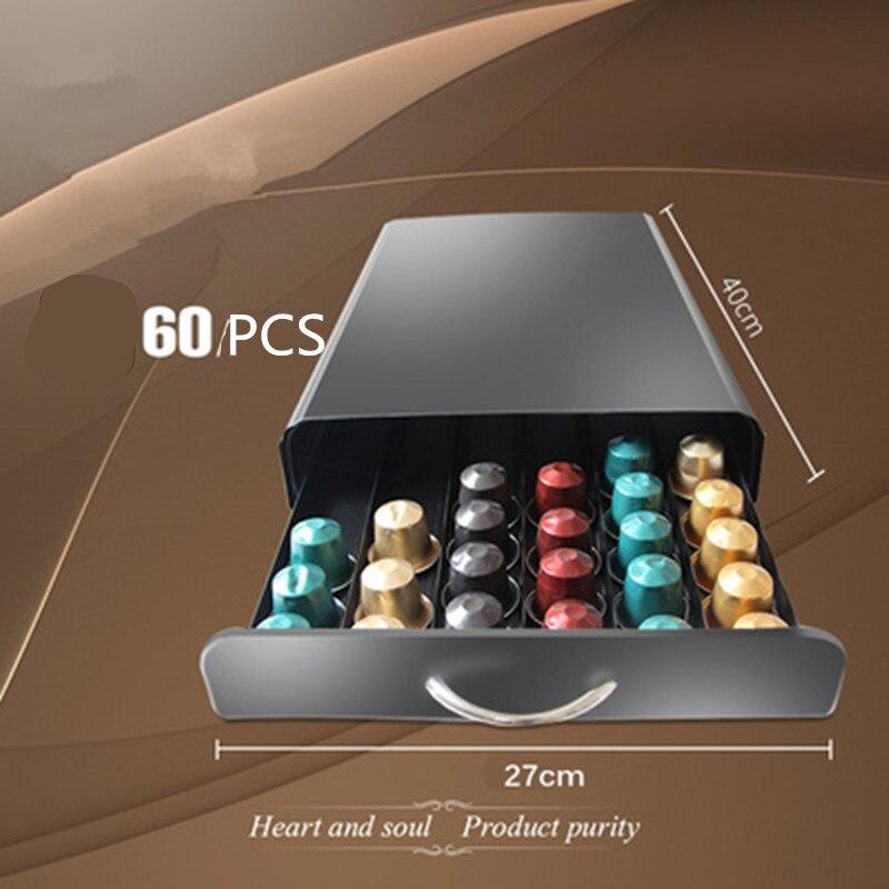 40-60 قطعة كبسولة قهوة نسبرسو صندوق بأدراج نسبرسو ماكينة القهوة قاعدة نستله رف تخزين معادن حامل القهوة درج