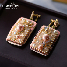 Himstory Luxury Handmade Geometric Baroque Freshwater Pearl Statement Earrings For Women Crystal Large Square