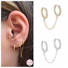 Boucles d'oreilles en argent 925 véritable pour femme et fille, 1 pièces, chaîne de menottes, style gothique, Punk, européen, chaîne à maillons, A30