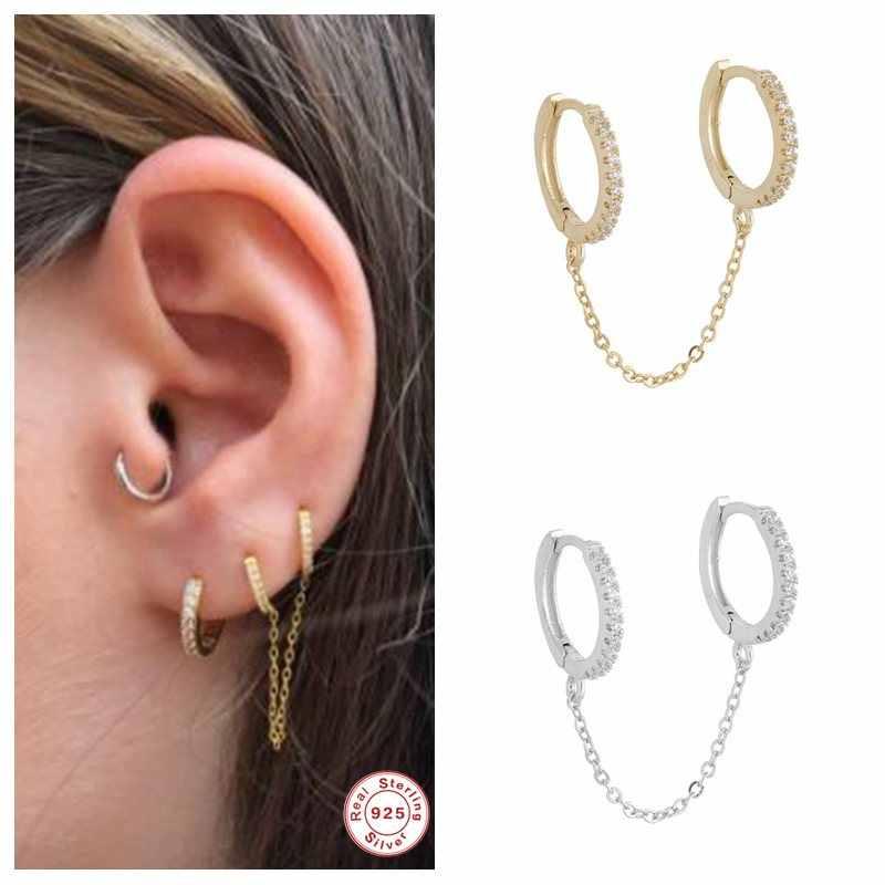 1 Paire Argent Sterling 925 Simple Petit Hoop Femmes Personnalité Punk Boucles D/'oreilles