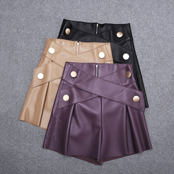 2020 All  Season womens High quality sheepskiN Real leather Wide-leg pants Chic women short C128