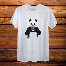 Panda Heart Love Red Nose Day Top Design T-Shirt Men Unisex Women Fitted(China)