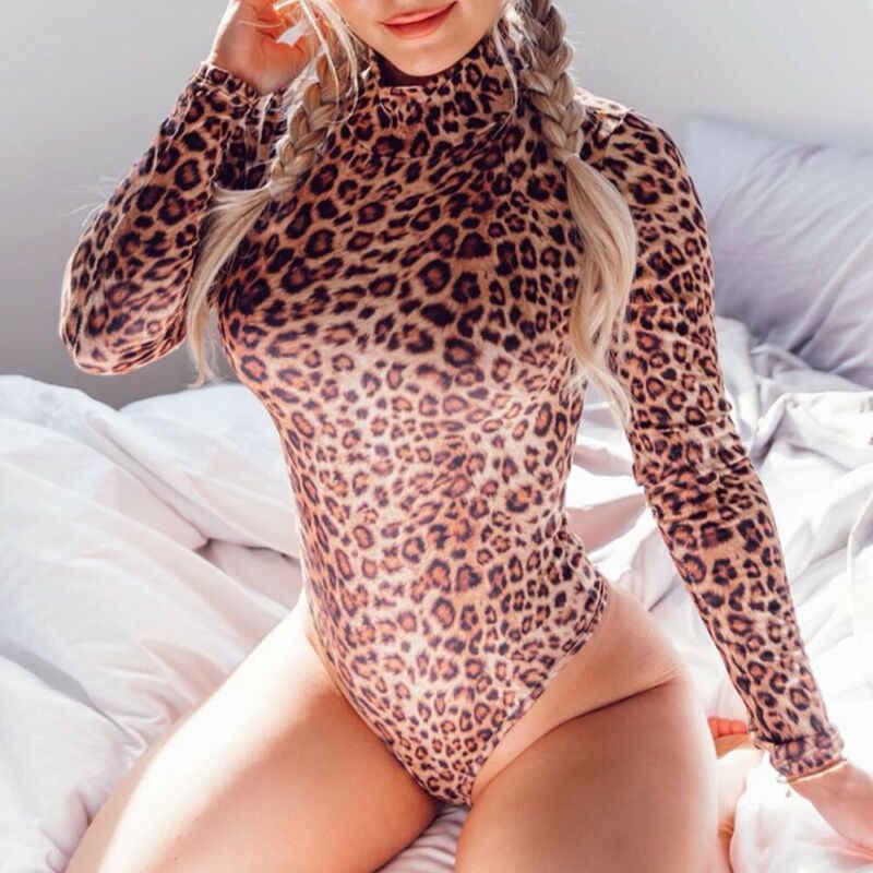 Da Báo Body Sexy Nữ Bodycon Skinny Cơ Thể Phù Hợp Với Cao Cổ Tay Dài Playsuit In Hình Romper Áo Liền Quần S-XL