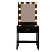 【US Warehouse】FCH With a Light Cannon Large Mirror Single Drawer Dressing Table Black