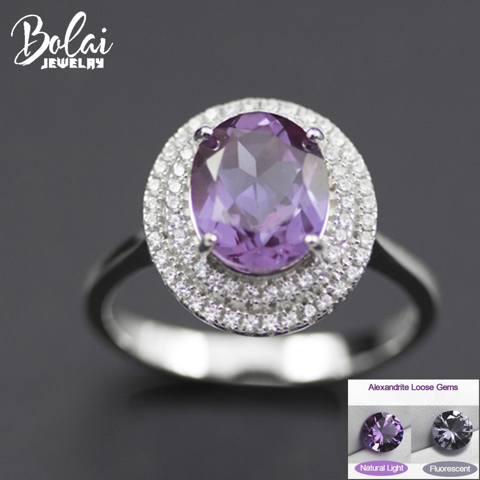 Color Change Alexandrite Ring Genuine 925 Sterling Silver Oval Created Gemstone Fine Jewelry for Women Ladies Wedding Rings 2019