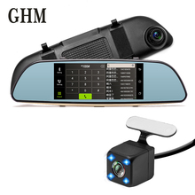 купить Hd 7'' Gps Touch Screen Dual Lens Dvr Car Camera Recorder Dash Cam Night Vision Cycle Recording G-sensor Drive Video Bluetooth дешево