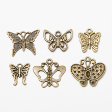 6pcs/set Butterfly Charms Pendants Accessories for Jewelry Making DIY Bracelets Necklaces Brooch Earrings Handmade Crafts DIY 30pcs metal feather leaf dreamcatcher charms pendants for diy earrings necklaces bracelets findings for jewelry making wholesale