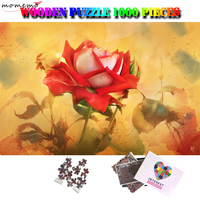 MOMEMO Rose 1000 Pieces Wooden Puzzles for Adult Art Painting Jigsaw Puzzles 1000 Pieces Puzzle Games Interesting Assembling Toy