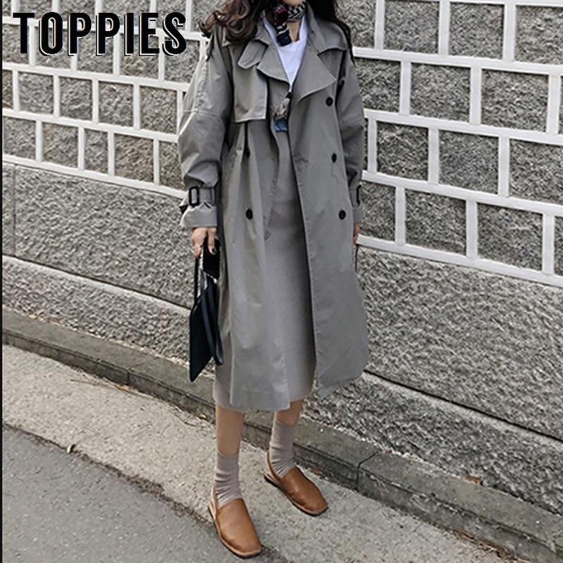 2019 Autumn Oversized Long Trench Coat Women Double Breasted Loose Coat Korean Windbreaker Casual Outwear