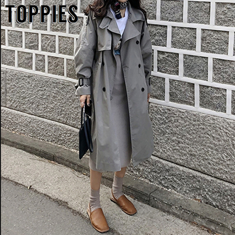2019 Autumn Oversized Long   Trench   Coat Women Double Breasted Loose Coat Korean Windbreaker Casual Outwear