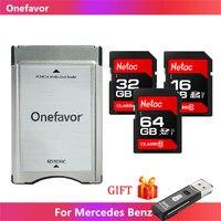 Hohe Geschwindigkeit Onefavor SD ZU PCMCIA Karte adapter PCMCIA kartenleser Mit Netac SD Karte 16GB 32GB 64GB Für Mercedes Benz MP3 Speicher
