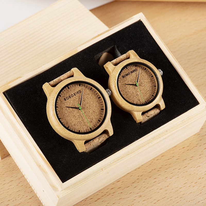 BOBO BIRD Simple Design Couple Watch Wood Wristwatch Men Women Customized Text On Box Lovers Gift Anniversary Christmas Gifts