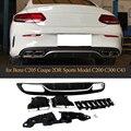 Автомобильный задний бампер диффузор спойлер для Mercedes Benz W205 C200 C300 C43 AMG Coupe 2-дверный Бампер 2014-2019 диффузор с наконечниками