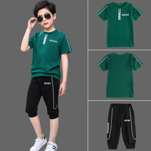 Kids Sets Boys Summer New Children Short Sleeved T Shirt +pant Two Sets of Children's Sport Suit 5-13 Ages Clothing 10 12 Year