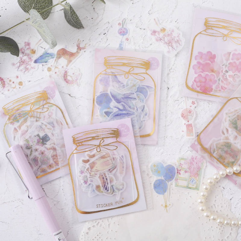 40pcs/lot Scrapbooking Stationery Japanese Girl Heart Hot Stamping Kawaii Stickers Album Sticker image