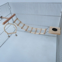 Bird Cage Stand Play Gym Wood Parrot Swing Climbing Ladder Feeder Cup Chew Toys Playground Stands