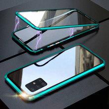 Dwustronne magnetyczne 360 Protect etui do Samsung A31 A51 A71 A21s A41 A50 A70 S20 S10 S9 S8 Note20 hartowane szkło metalowa pokrywa tanie tanio kasmola Aneks Skrzynki mangetic metal case Galaxy Note 8 Galaxy S9 Plus Galaxy note 9 GALAXY S10 PLUS GALAXY A30 GALAXY A50