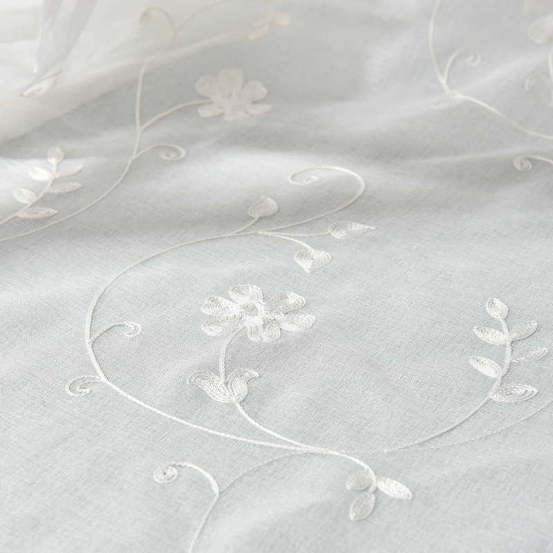 European Embroidered Voile Curtains Bedroom Sheer Curtains for Living Room Tulle Window Curtains/Panels Window Screening S101&30