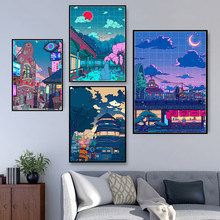 Canvas Wall Art HD Cartoon View Street Prints Poster Home Decoration Night Tree Cute Painting For Bedroom Modular Pictures Frame
