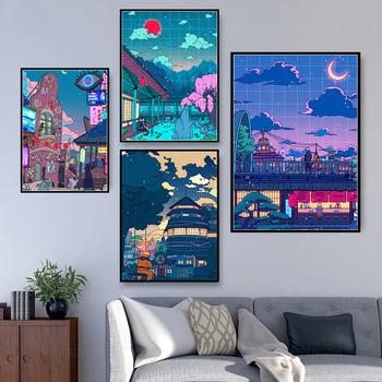 Płótno Wall Art HD Cartoon View Street wydruki plakat dekoracja wnętrz nocne drzewo śliczny obraz do sypialni modułowa ramka na zdjęcia tanie i dobre opinie YGYT CN (pochodzenie) Wydruki na płótnie Pojedyncze PŁÓTNO Wodoodporny tusz Martwa natura Lustra w ramie Nowoczesne