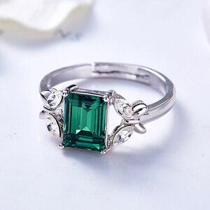 Image 3 - Украшенное кристаллом от Сваровски, кольца с зеленым камнем и бабочкой, женские кольца регулируемого размера для вечеринки