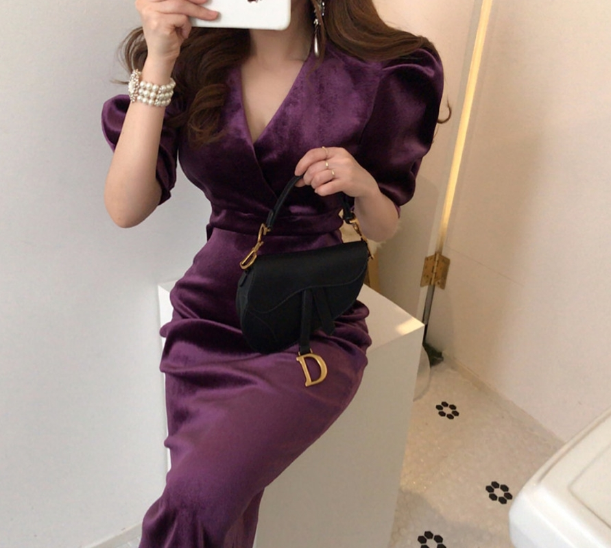 Elegant Spring Summer Dress Women Fashion Sexy Velvet Women Dresses Vestidos Robes
