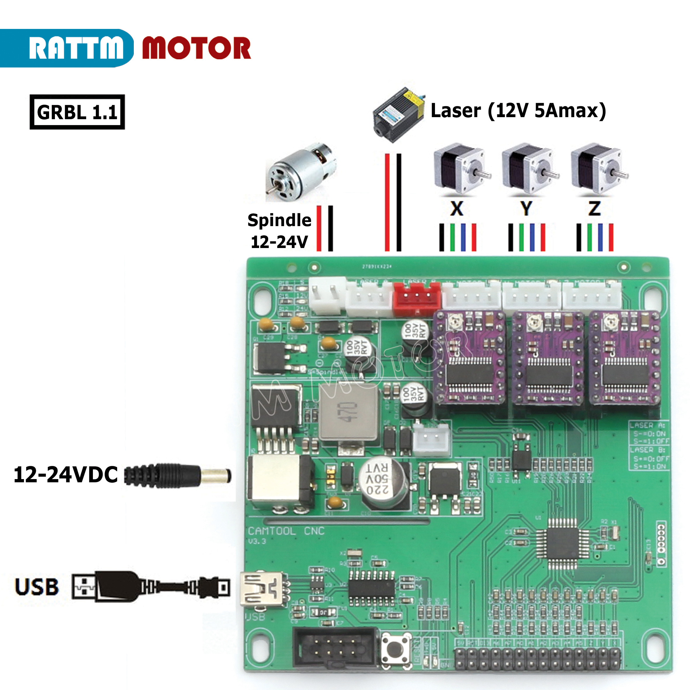 New GRBL 1.1J USB Port 3 Axis CNC Control Board Engraving Machine Support Laser Engraving Anti-jamming Can Use Off-line