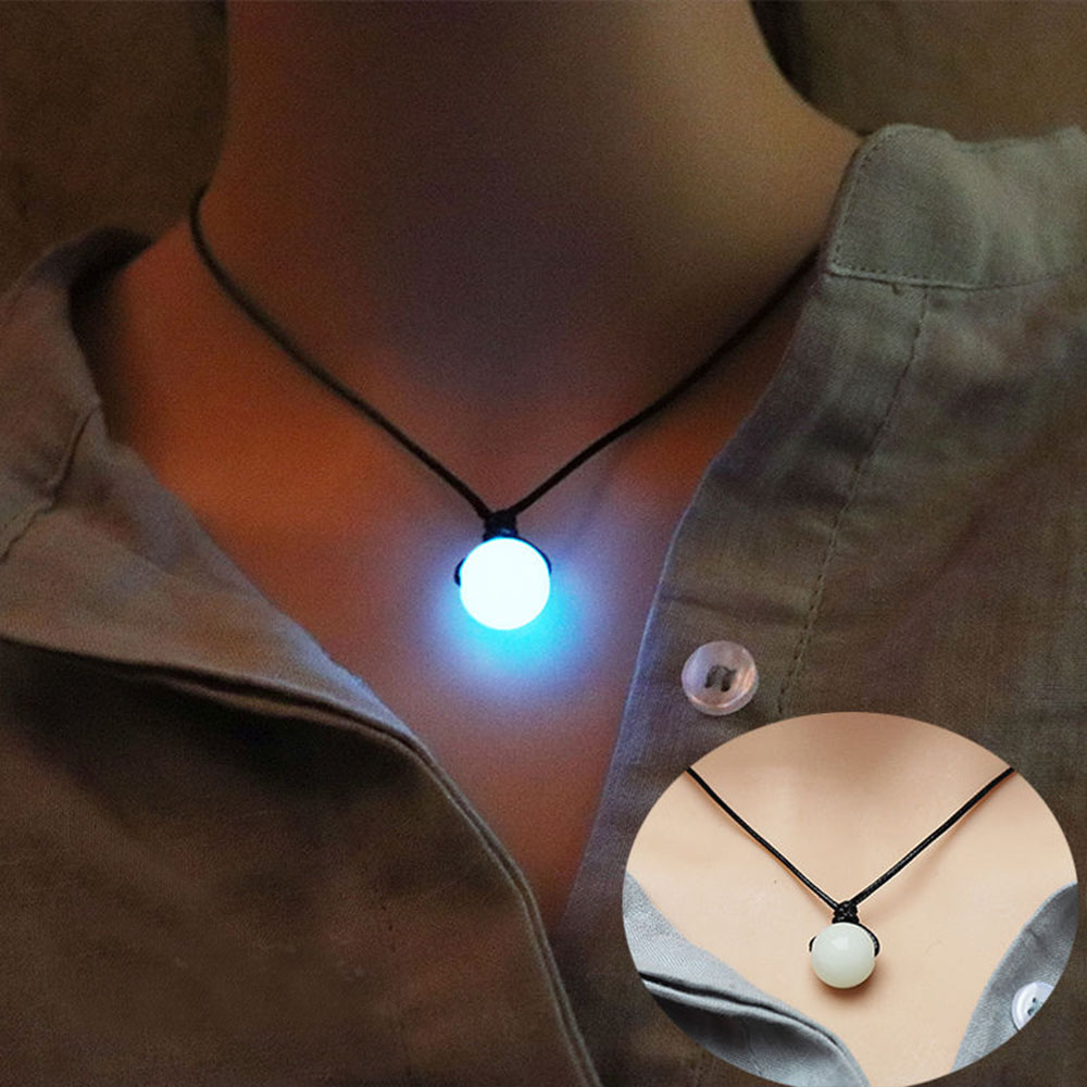 Dark Luminous 2021 New Stone Fluorescent Spherical  Necklace Natural Crystal Glowing in Dark Stone Pendant Necklace