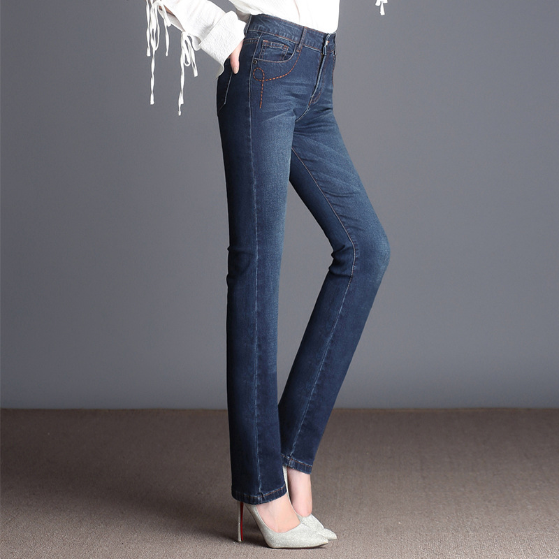 Горячая Распродажа, женские прямые джинсы с высокой талией, тянущиеся, облегающие джинсы размера плюс, Прямая поставка|Джинсы|   | АлиЭкспресс