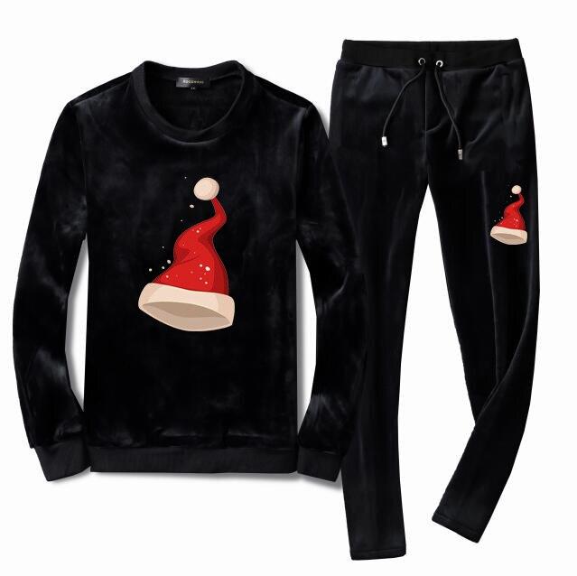 Men's Velour Velvet Sport Sweatshirt Tracksuit Track Suit Outwear 2PC Jacket Coat Pants Trousers Sets Outfits Christmas Hats