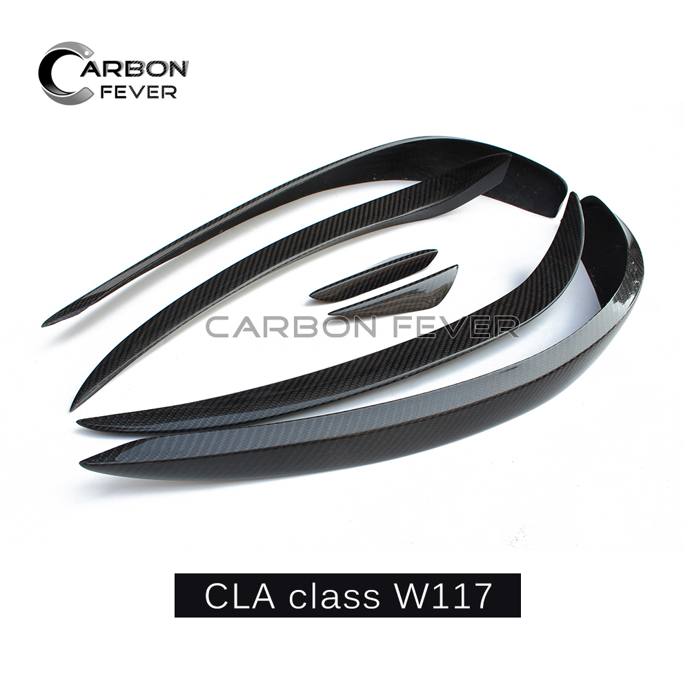 For CLA Class W117 2013 - 2015 Pre-Facelifted Sporty <font><b>CLA250</b></font> CLA220 CLA200 & CLA45 Front Bumper Canards Carbon Fiber Splitter image