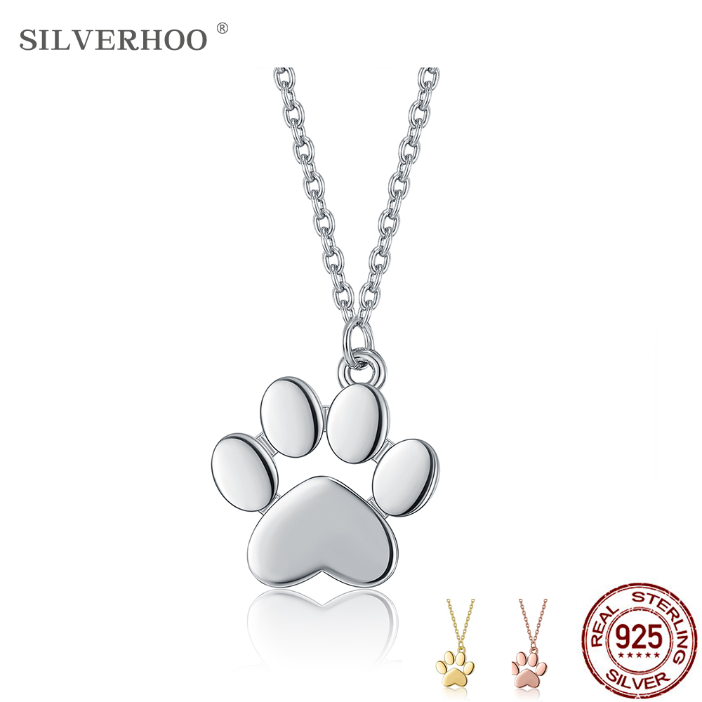 SILVERHOO Real Sterling 925 Silver Necklace Cute Animal Dog Cat Footprints Paw Necklaces Pendants Women Silver Jewelry HOT SALE