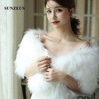 Long Fur Wedding Bolero Cape With Lace Faux Fur Winter Bridal Wraps Shawls Shrugs Stole Women Marriage Accessories AX034