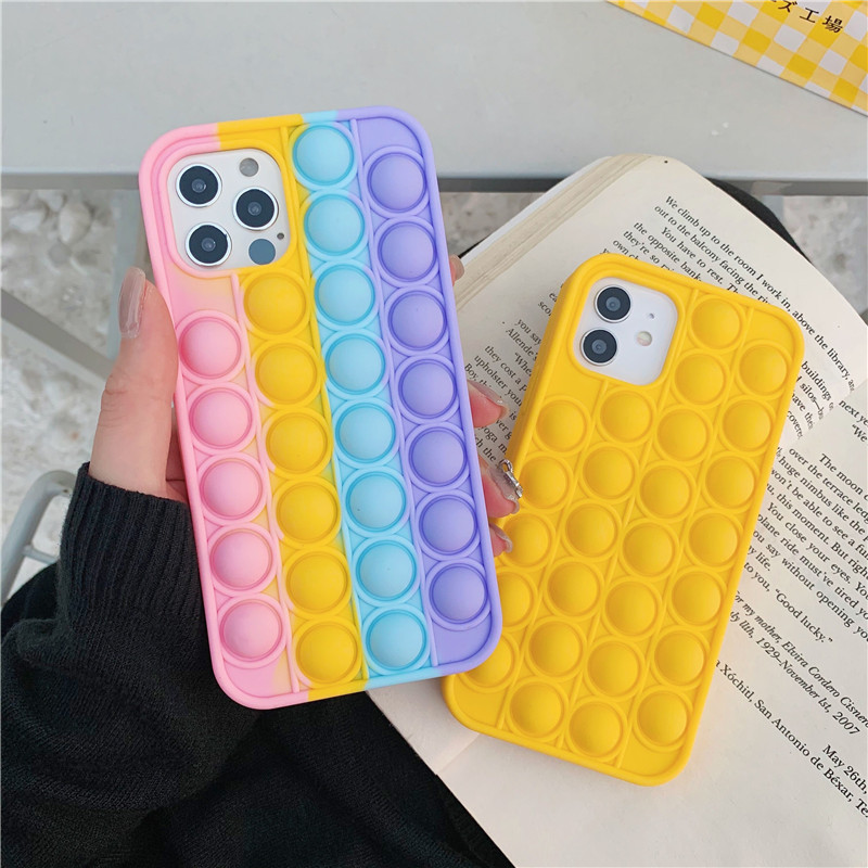 New Pop It Phone Case for iPhone 12 Mini Pro Max XR XS X Relief Stress Toys Push Bubble Silicone Cover for iPhone 11 7 8 Plus SE