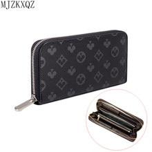 Mjzkxqz masculino carteira fina carteira de couro longo masculino embreagem mulher bolsas moeda mão bolso cartera hombre billetera