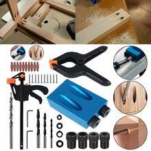 34 pçs ferramentas para trabalhar madeira oblíqua ângulo buraco localizador brocas conjunto buraco bolso gabarito kit guia conjunto buraco perfurador diy ferramentas carpinteiro