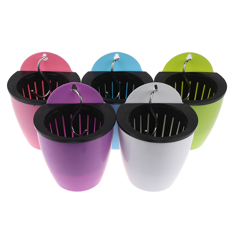 Self Watering Solid Color Flower Pot Wall Hanging Resin Automatic Plastic Planter Durable For Garden Balcony With Hook