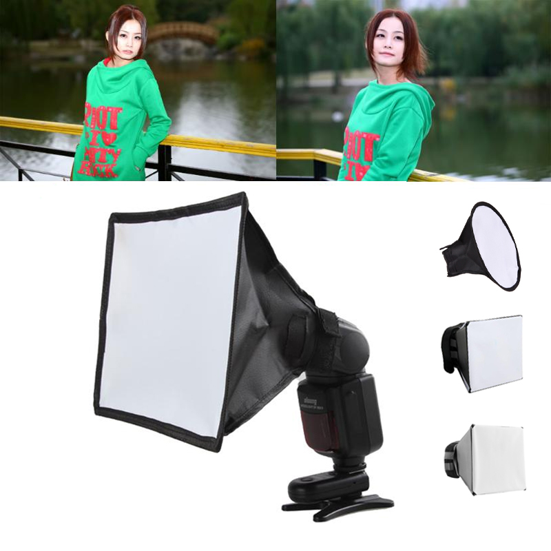 Flash Diffuser Reflector Softbox Professional Mini Photo Diffuser Round Square Soft Light Box For Canon Nikon Sony Camera