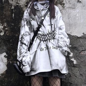 Streetwear Harajuku Funny Printed Tops Autumn Girls White Fashion Japan Kpop Women Casual High Street Special Spring Sweatshirts 1