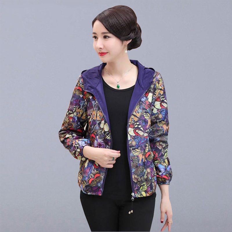 Autumn Short   Jackets   Women Casual Coats New Fashion Vintage Print Hooded   Basic     Jackets   Female Outerwear Coats Plus Size P167
