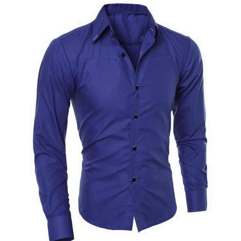 Moda solidna koszula męska Casual Slim dopasowane koszule zapinana na bluzki koszulka Homme klasyczna z długim rękawem Business Men Blusas Oversize 5XL