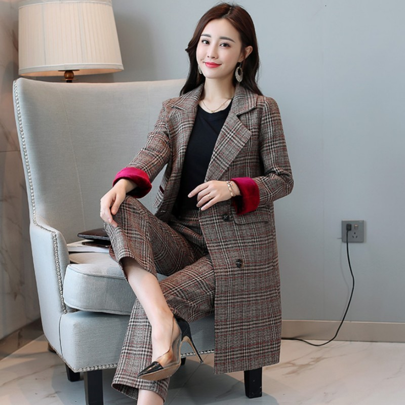 European Style Womens Office Suit Fashion Autumn Winter Two Piece Set Double Breasted Slim Plaid Blazer Long Pants Plus Size 4XL