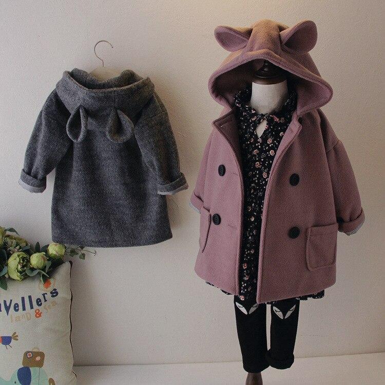 2018 Winter New Style Girls Korean-style Woolen Overcoat Mid-length Double Breasted Woolen Jacket N3155 Plus Cotton
