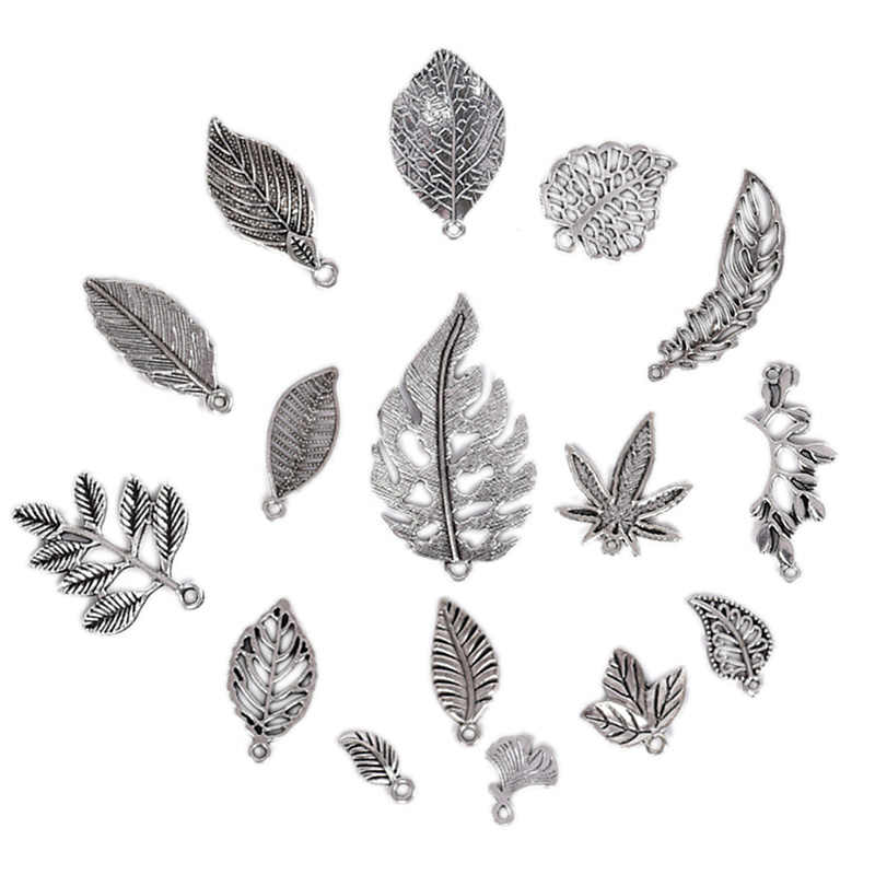 16Pcs/Set New Tibetan Silver Mixed Styles Leaf  Charms Pendants DIY Jewelry For Necklace Bracelet Making Accessaries