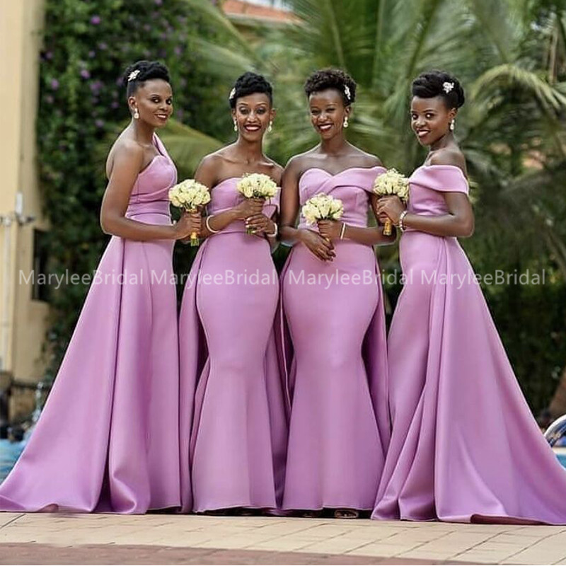African Women Mermaid Bridesmaid Dresses 2020 Lilac Satin Long One Shoulder Wedding Party Dress Maid Of Honor Prom Gowns