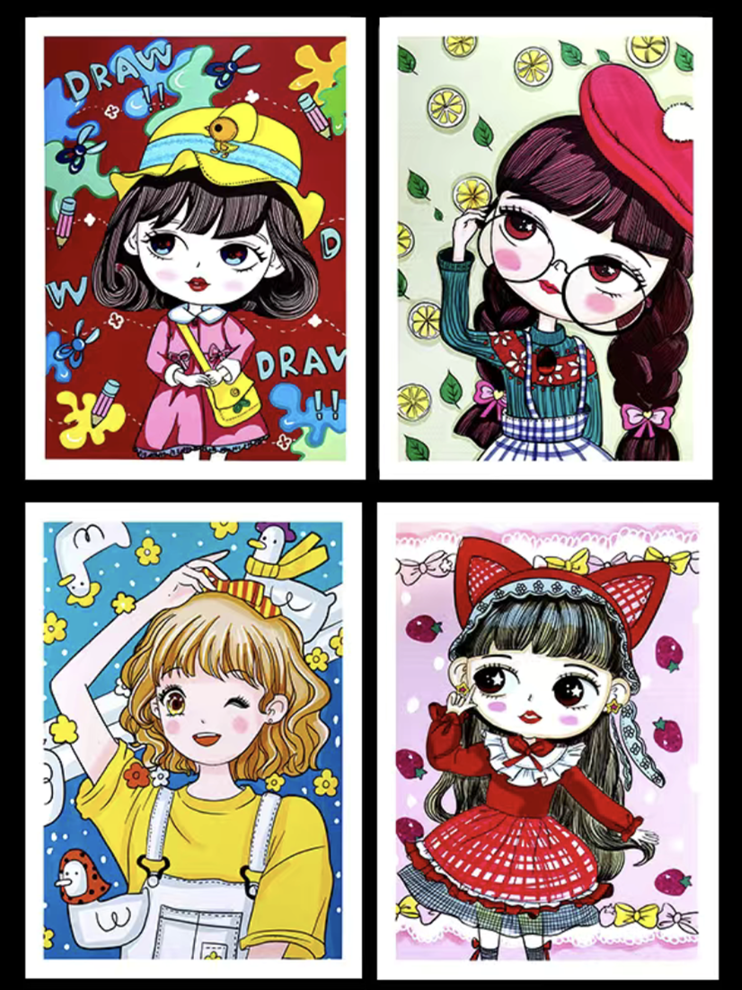 40 Pieces A5 Cartoon Anime Painting Copy Cards Coated Paper Art Marker Pen Drawing Character Material