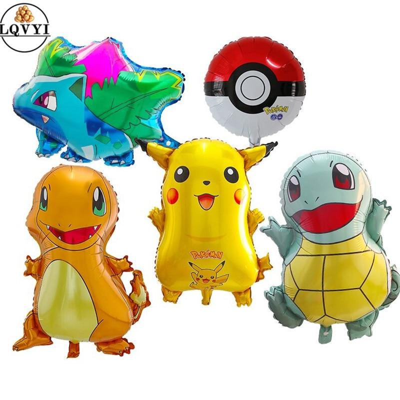 5pcs Cartoon Pikachu Pokemon Go Helium Foil Balloons Inflatable Children Birthday Party Decorations Kids Toys Children's Day